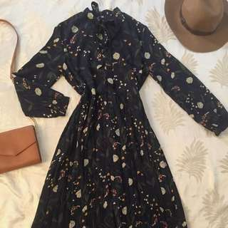 Korean Floral Midi Dress