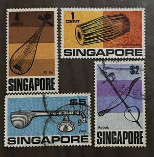 Singapore stamps 1c-$5 4v Mint & Used musical instruments