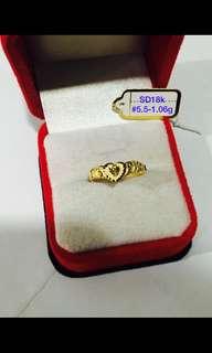 18k saudi heart ring