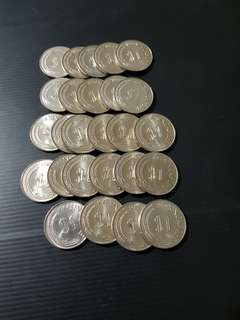 SINGAPORE 1 DLR Copper Nickel Coin (26 pcs)