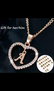 Po alphabets heart Necklace