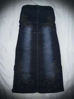 Y. R. Y. S. Denim Tube Midi Dress
