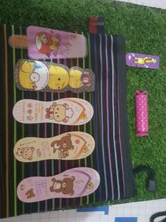 Value pack: large black translucent pencil case with pink sweet marker and different designs of 6 bookmarks