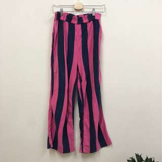 🚚 藍粉色 條紋直筒長褲 鬆緊帶腰圍 辣妹 古著 二手