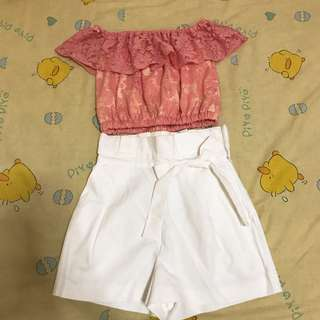 Set pink lace + trf white