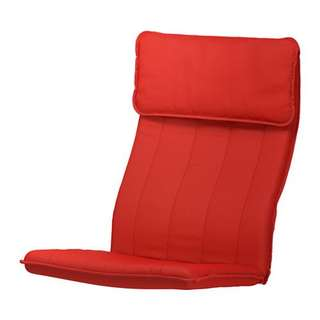Poang chair red fabric seat cushion