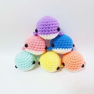 Handmade crochet amigurumi toy whale