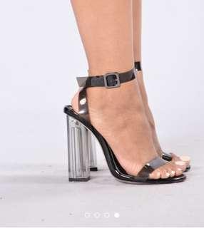Black perplex heels