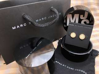 Marc By Marc Jacobs耳環(白+玫瑰金)