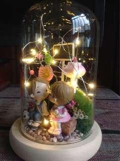 Figurines crafted terrarium - illuminated