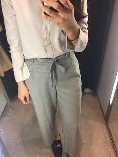 🚚 Zara 綁帶格紋褲