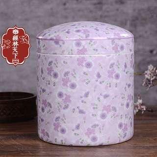 (全新未折)特大陶瓷粉紅茶葉罐陶瓷大號儲茶罐