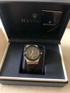 Maserati 手錶 防刮+皮革皮戴