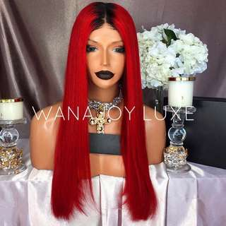 "24"" Red Ombre Human Hair"