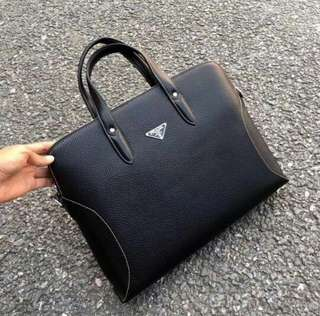Prada men's leather laptop bag black
