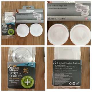 Tommee Tippee 2 storage lids and 2 teats