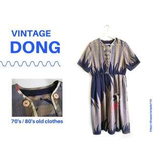 | 咚 咚 Vintage |法式古著- 沉默森之島短袖洋裝
