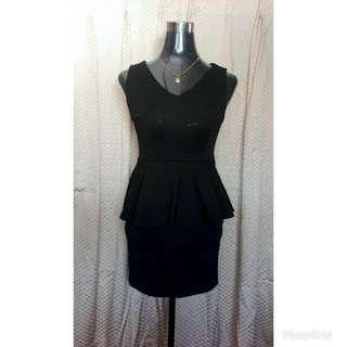 See-through Backless Peplum Dress