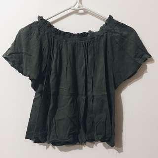 Green Off-Shoulder Top
