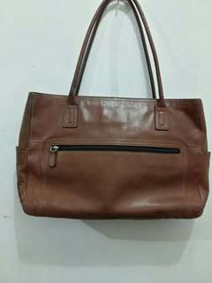 Fossil Brown Leather Large Tote Bag