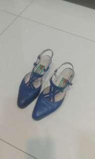 🚚 藍色真皮皮鞋