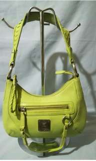 100% Guaranteed Authentic  MCM Calfskin  Apple green Leather small bag.  With metal engraved MCM