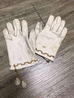 米白皮革流蘇手套🧤