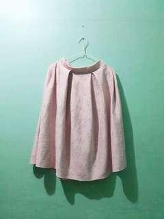 Pink embossed Midi Skirt