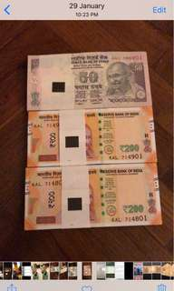 India currency stacks - 100 runs UNC