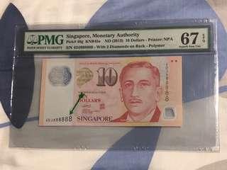 Singapore $10 Solid Number 4DJ 888888 (PMG 67EPQ)