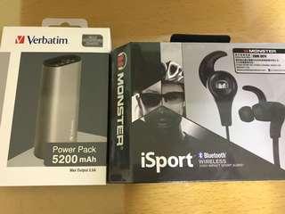 全新iSport 藍芽耳機 送 全新5200 mAh流動交叉