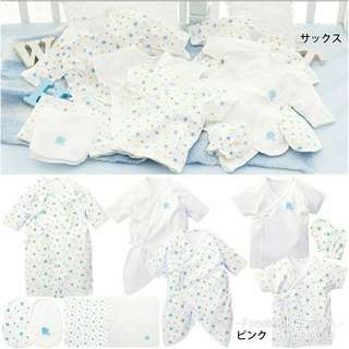 (現貨) 日本進口,日本牌子初生嬰兒全棉內衣套裝(超值10件:兩用長袍連身衣夾衣 · 蝴蝶衣短袖和尚短袍· 紗巾 · 手套 · 口水肩授乳巾(汗巾) ),尺碼:均碼 50~60cm
