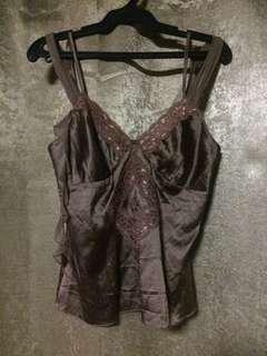 Authentic Beautiful XS BEBE Silk Brown Top