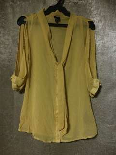 Authentic XS BEBE Cold Shoulder See Through Button Down Top