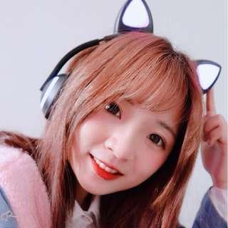 全新 超萌貓貓 貓耳 變色發光藍牙無線耳機連咪 Headset Headphone- 免提 電競必備