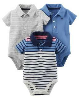 Carter's 3-Pack Short-Sleeve Polo-Style Bodysuits