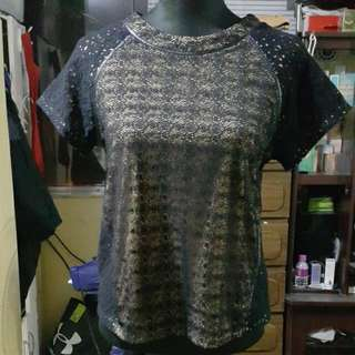 Authentic Forever 21Lace Top With Faux Leather Trim Detail