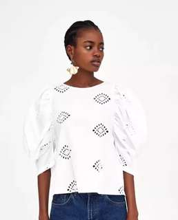 European and American style solid color enough flowers perforated bubble sleeves loose sets of shirts blouse