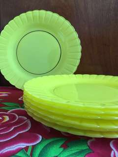 Vintage Duralex Yellow Coloured Plates