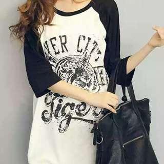 韓版 夏季寬鬆 中長款時尚百搭老虎短袖T 純棉短袖T 現貨