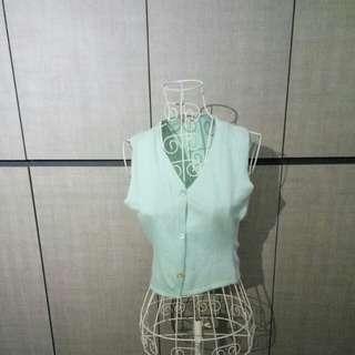 Japanese vintage wool vest in green