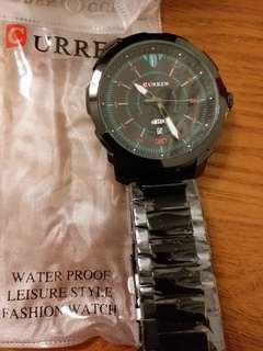 全新男裝黑鋼錶