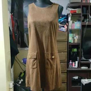 Authentic River Island Retro Faux Suede Mini Dress With Pockets.