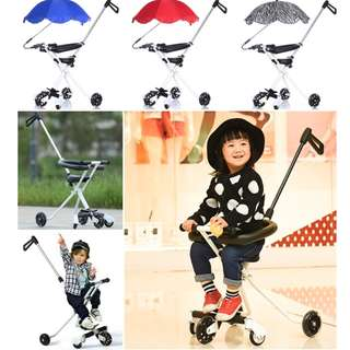 5 WHEEL [BLACK] NEW LIGHTWEIGHT & FOLDABLE TRICYCLE MAGIC STROLLER+FREE BASKET