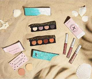 Eva Gutowski x Colourpop collection: lip bundle - just surfed, love bite, party wave ultra blotted lip and mermaid glow pressed powder face duo