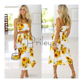 FLORAL PRINTED TUBE TOP AND SKIRT SET