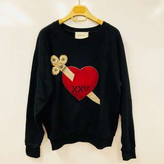 Gucci black with heart sweater size XXS