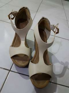 Beige Wedge Sexy Shoes