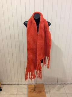 COS chunky knit scarf in vibrant orange colour