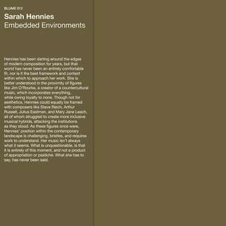 Sarah Hennies - Embedded Environments (Blume Vinyl LP)